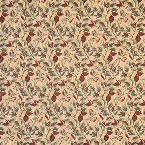 Traditional Upholstery Fabric Gold And Green Floral Leaves Tapestry Upholstery