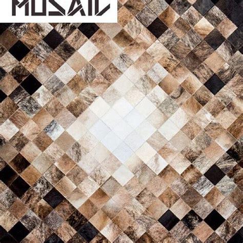 Geometric Cowhide Rug Nordic By Mosaic Rugs Luxury Handcrafted Black Brown