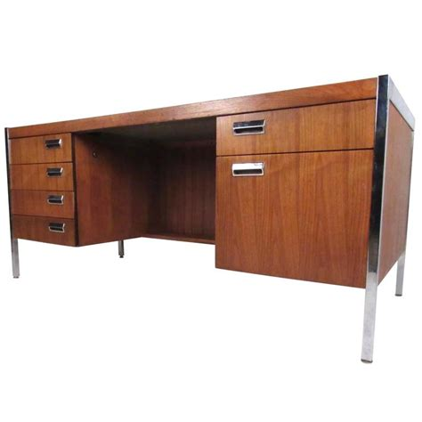 Mid Century Modern Desk For Sale Mid Century Modern Chrome And Walnut Executive Desk For Sale At 1stdibs
