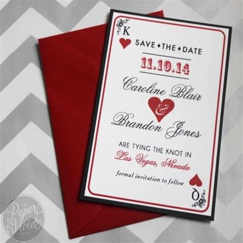 Vegas Themed Wedding Reception Invitations