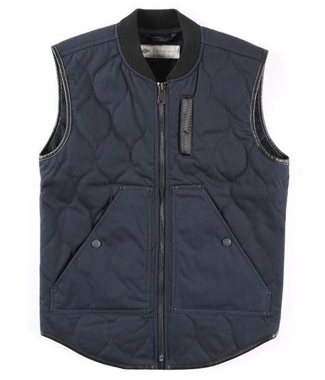 Quilted Vest For by Dickies Construct Quilted Cotton Vest In Blue For Lyst