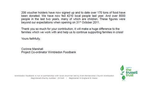 Thank You Letter For Banker thank you for your food donation letter docoments ojazlink