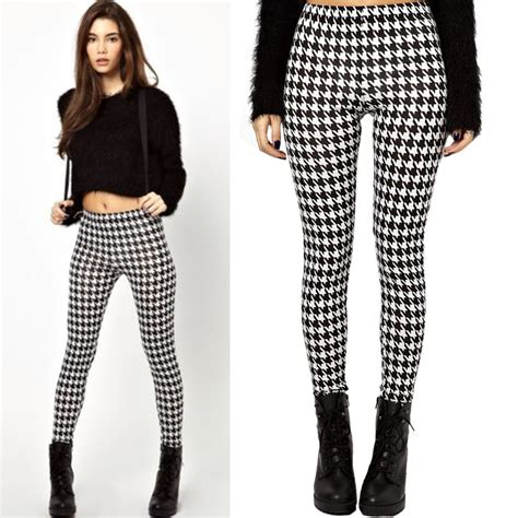 pants checkered jeans checkered pants black and white 2014 new arrival houndstooth white black check plaid