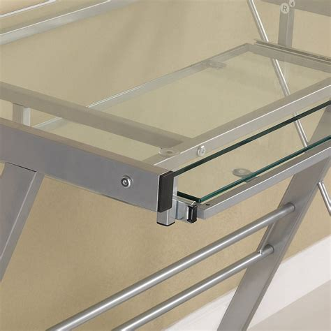 Glass Corner Desk Metal Frame Elegant Glass Corner Desk Corner Desk Glass