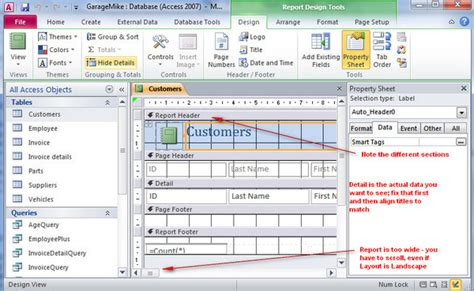 report layout view in access 2010 access reports