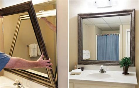 stick on bathroom mirror framed bathroom mirror diy house decor ideas