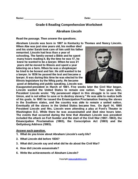 grade 6 reading comprehension worksheets pdf worksheets