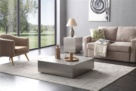 stainless steel coffee table modrest anvil modern brushed stainless steel coffee table