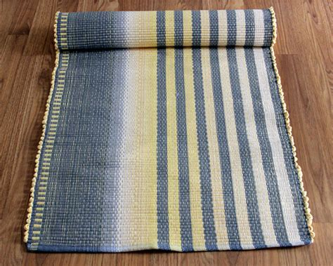 Yellow And Grey Runner Rug Rag Rug Runner In Charcoal Gray And Pale Yellow Cotton Rag