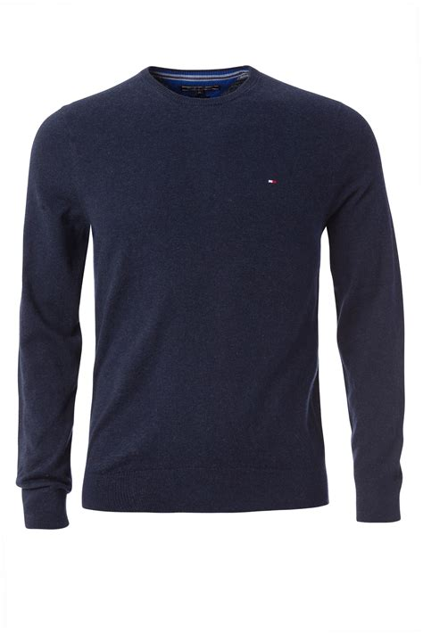 Hilfiger Crewneck hilfiger cotton linen crew neck jumper in blue for lyst