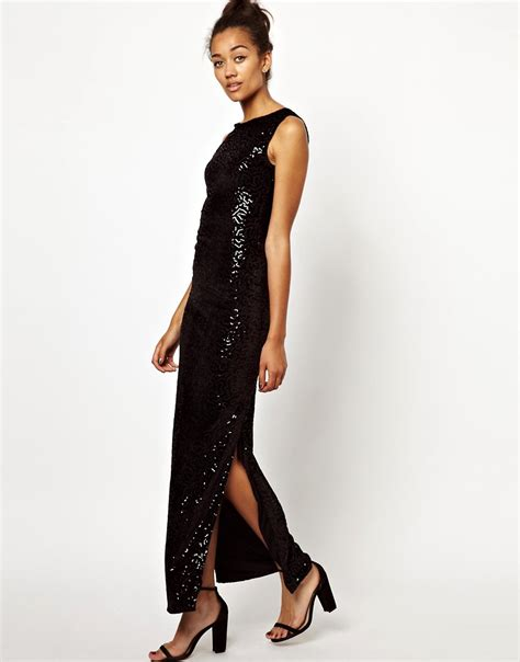 Wave Dress 8058 Black lush doodles motel cherribomb maxi dress in wave sequin