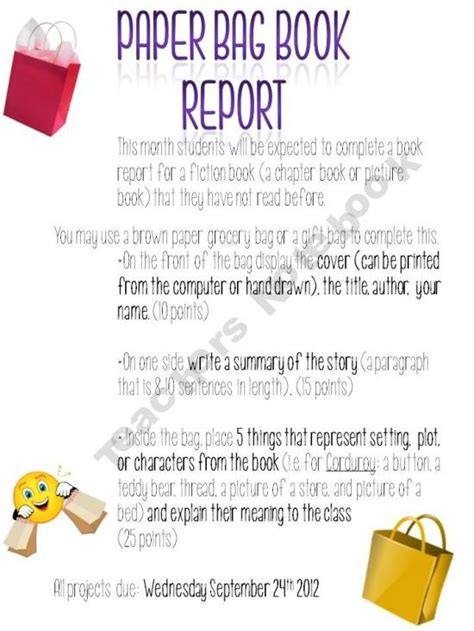 paper bag book report exles pin by tracy farrow on literacy