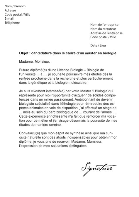Lettre De Motivation Biologiste Lettre De Motivation Stage Laboratoire Biologie Document