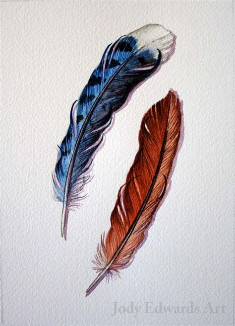 tattoo feather jay blue jay and cardinal feather study original watercolor
