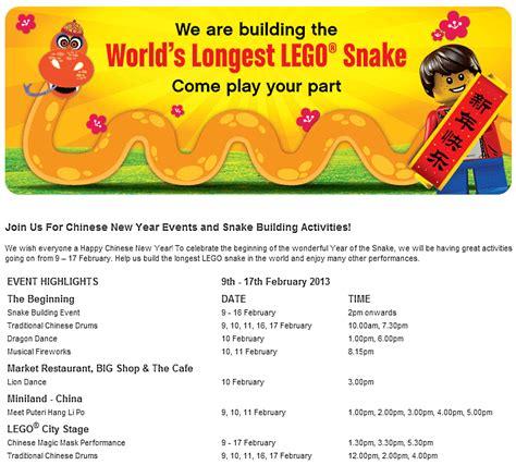 new year activities in malaysia cny 2013 world s lego snake legoland s