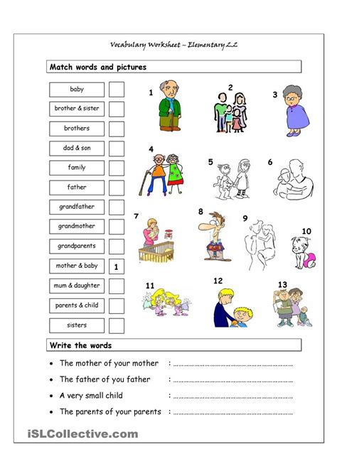 printable vocabulary games vocabulary matching worksheet elementary 2 2 family