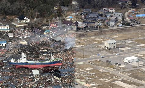 earthquake year japan earthquake 2 years later before and after the