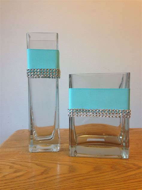 I crafted these Custom glass vase centerpieces to match