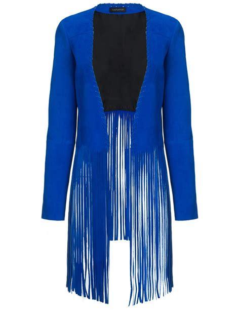 Fringe Fringe Tasya Jaket theperfext cobalt suede fringe jacket in blue lyst