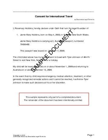 authorization letter for taking child out of country child travel consent australia templates
