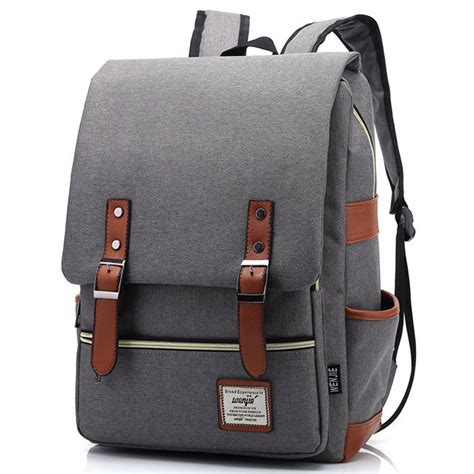 Ransel Bag wenjie tas ransel canvas retro light gray jakartanotebook