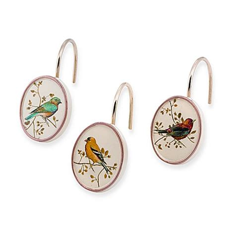 bird shower curtain rings buy avanti gilded bird shower curtain hooks set of 12