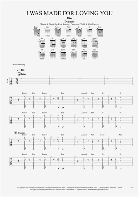 love theme from kiss bass tab i was made for lovin you by kiss full score guitar pro