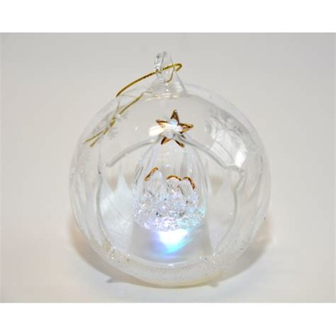 ornaments that light up nativity light up glass ornament
