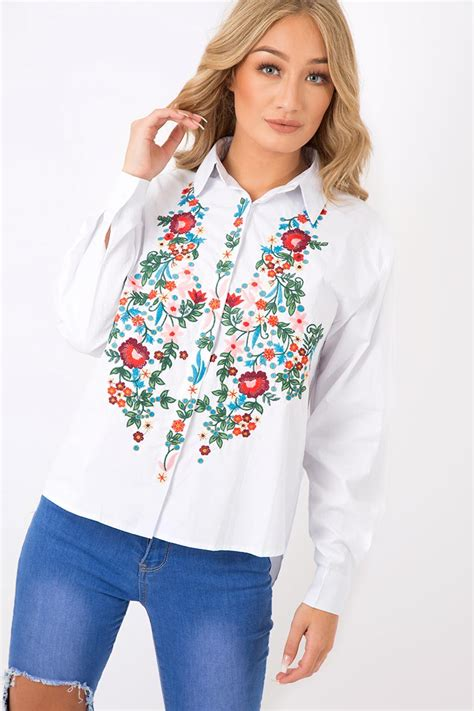 Floral Embroidered Shirts White white floral embroidered shirt solange