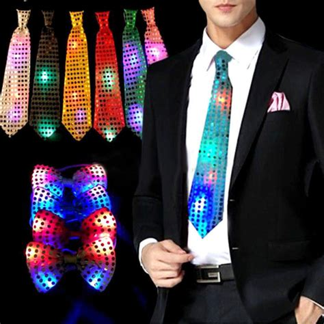 ties with lights light up bow tie necktie led lights sequins