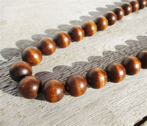 wooden beadings wooden bead necklace large brown vintage wood