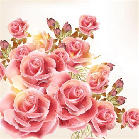 indah bunga mawar merah muda vector latar belakang vektor