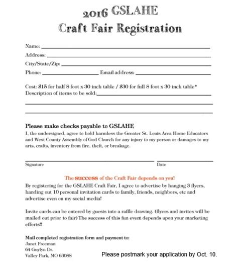Registration St Louis Homeschool Craft Fair Craft Vendor Application Template