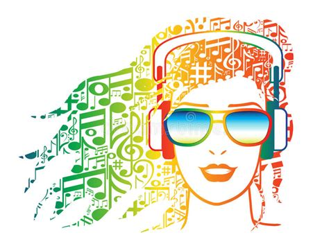 hair musical download free woman with headphones with musical notes for hair stock