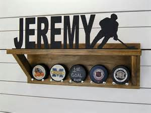 personalized hockey puck holder trophy shelf by pineconehome