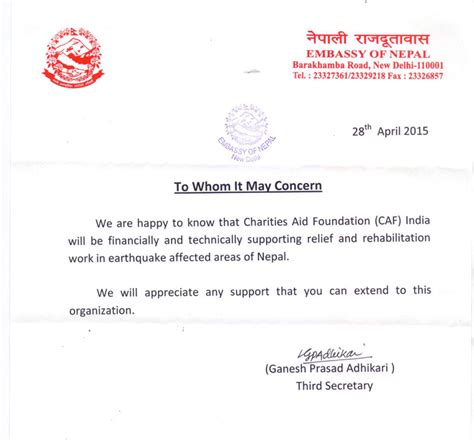 Indian Embassy Letterhead Letter From Nepal Embassy