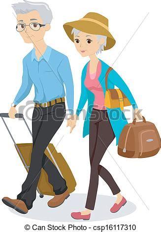 clipart viaggi clipart vettoriali di seniors viaggio illustrazione di