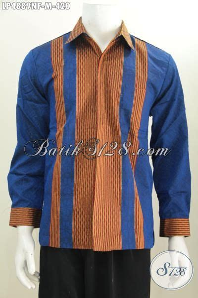 Dress Biru Garis Garis D042 hem tenun biru lengan panjang motif garis coklat nan mewah