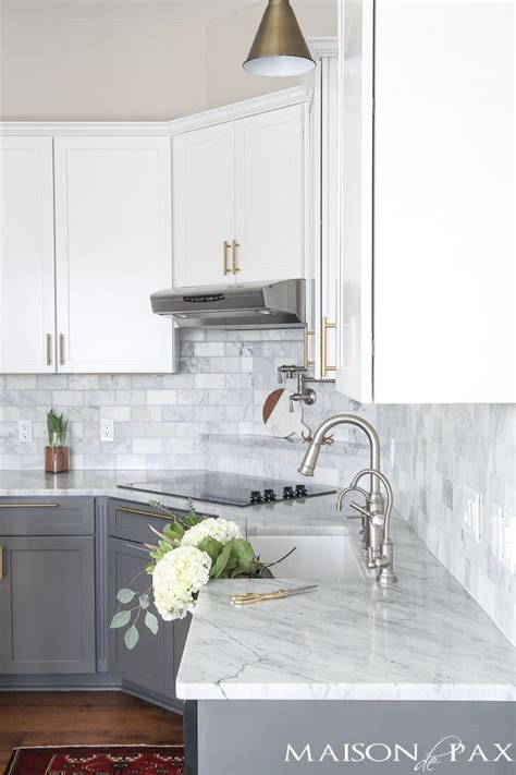 grey tile floors white cabinets gray and white and marble kitchen reveal marble subway