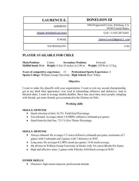 basketball resume exles laurence edward donelson iii professional basketball resume