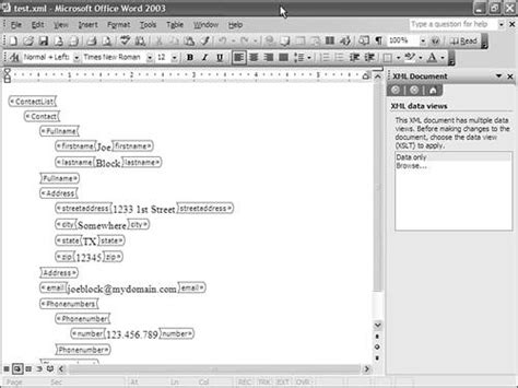 xml tutorial ms word using the xml structure task pane chapter 25 using