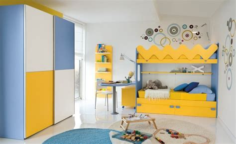 Funky Childrens Bedroom Furniture Warm Children Room Ideas Blue And Yellow Bed Interior Design Center Inspiration