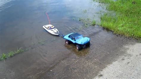 traxxas slash boat trailer traxxas slash 4x4 with boat and trailer youtube