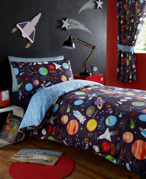 Planets Space Ship Rocket Solar System Reversible Duvet Solar System Bedding Set