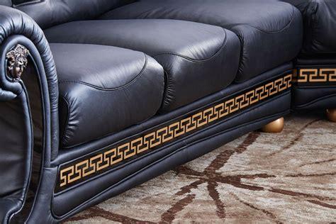 cleopatra sofa versace cleopatra black italian top grain leather right