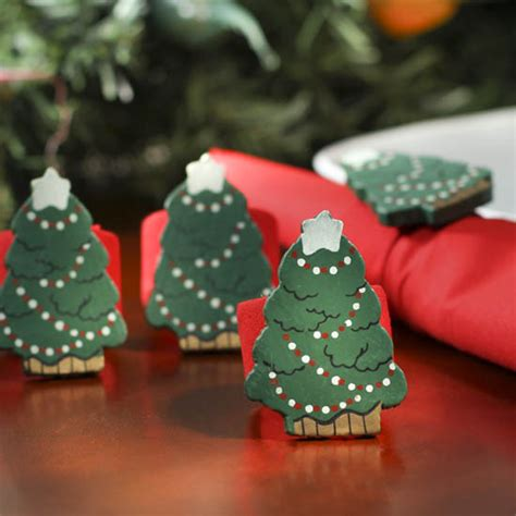 wood christmas tree holiday napkin rings table decor