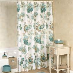 Teal Floral Curtains Kazoo Teal Jacobean Floral Shower Curtain