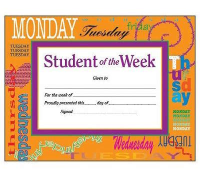 student of the week award certificate by instructional