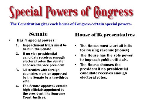 powers of the house of representatives what mistake does the senator make ppt download