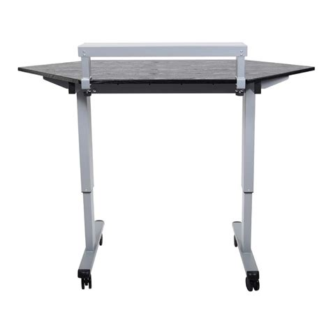 Standing Corner Desk Luxor Adjustable Height Stand Up Corner Desk Silver And Black Standup Ccf60 B